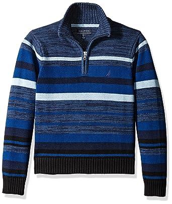 df2d9eb4e4d Amazon.com: Nautica Boys' Zip Neck Horizon Striped Sweater with ...