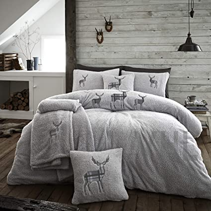 Cream Gaveno Cavailia Premium Stag Embroidery Teddy Emb Fleece Duvet Set with Pillowcases Kingsize Bedding Super Soft /& Cosy Bed Linen