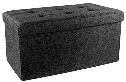 Red Upholstered Folding Storage Ottoman with Padded Seat, Asphalt Black
