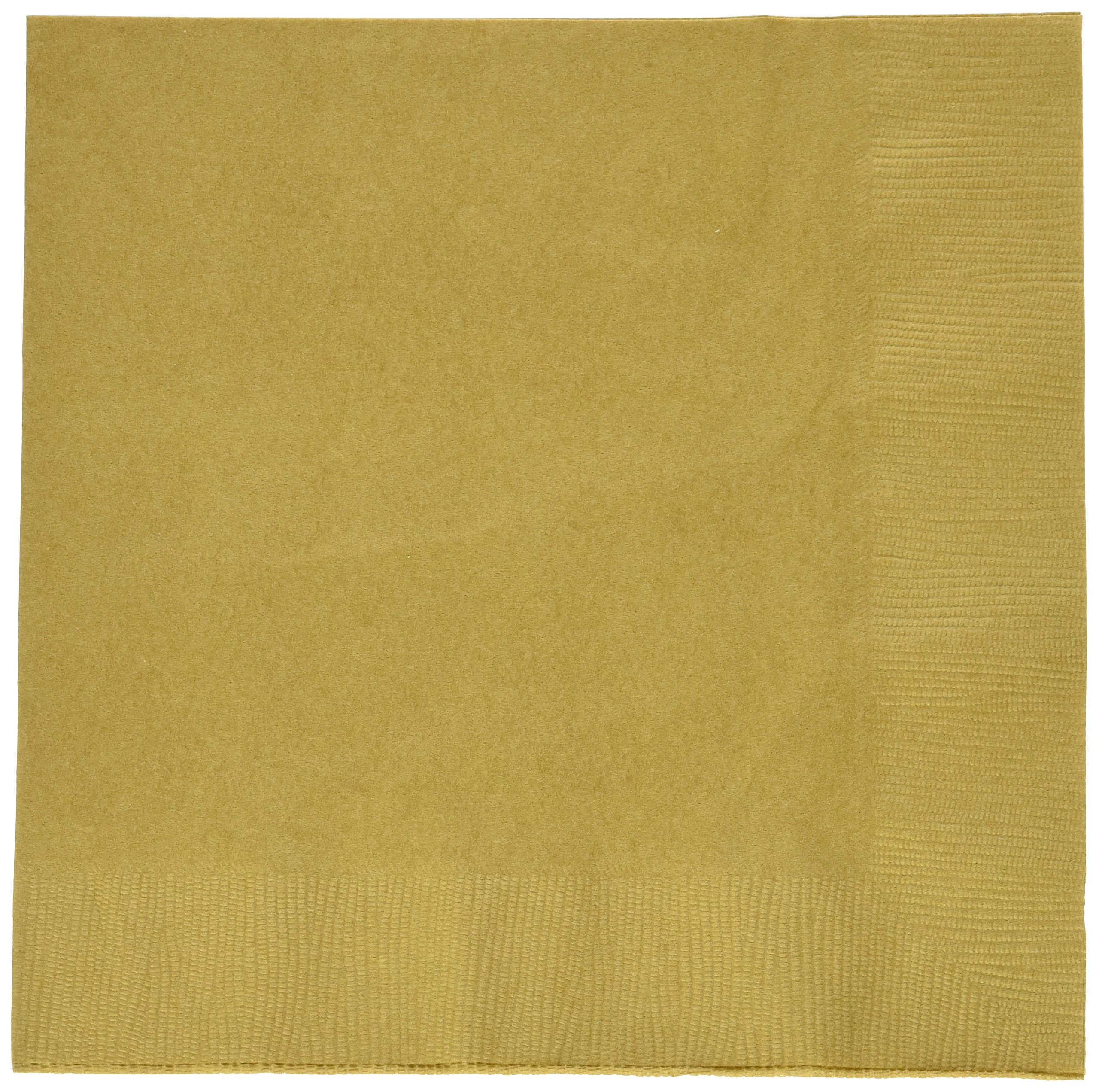 Amscan Disposable Party 2-Ply Dinner Napkins Tableware, Gold, Paper, 7'' x 7'', Pack of 20