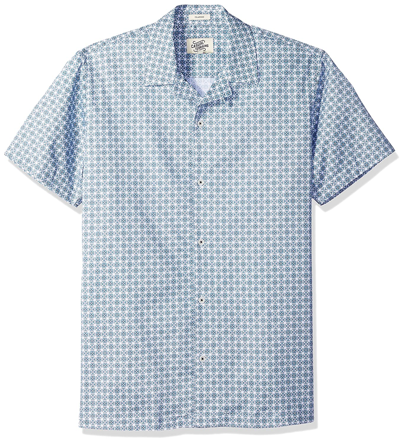 1950s Men's Shirt Styles – Dress Shirts to Casual Pullovers Casual Terrains Mens Classic-Fit Short-Sleeve Printed Camp Collar Shirt $27.95 AT vintagedancer.com