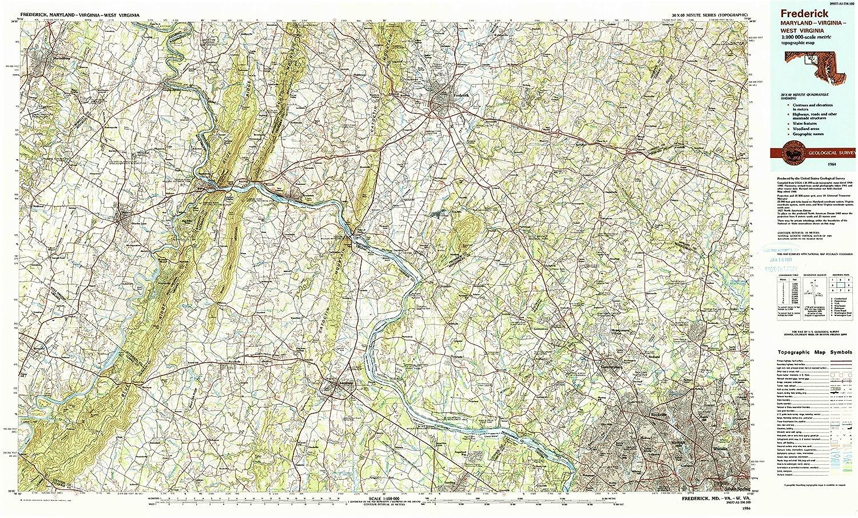 Amazon.com : YellowMaps Frederick MD topo map, 1:100000 Scale, 30 X ...