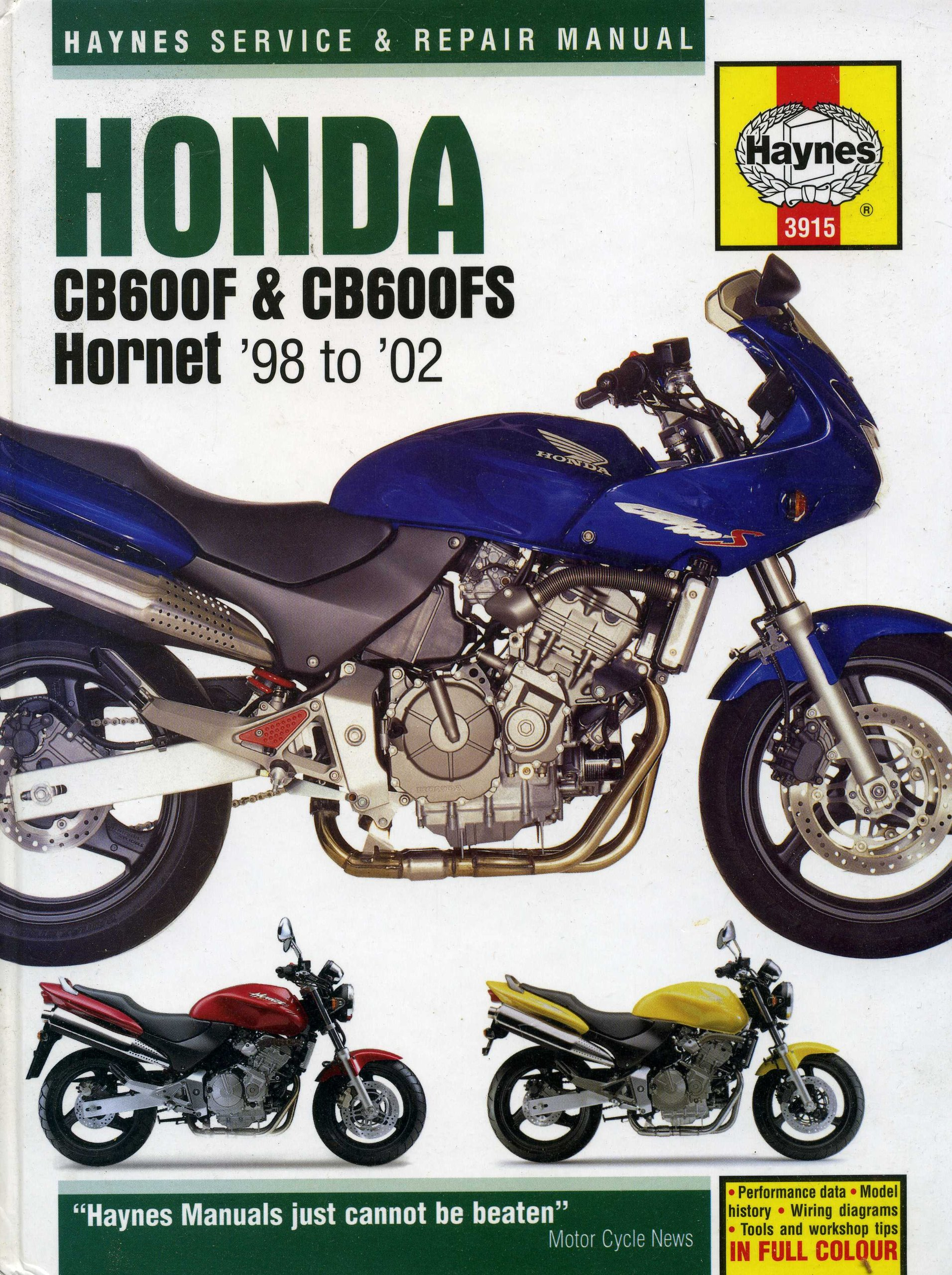 Honda CB600F and CB600FS Hornet Service and Repair Manual: 1998 to 2002  (Haynes Service and Repair Manuals 3915): Amazon.co.uk: Phil Mather:  9781859609156: ...