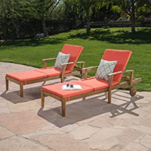 Great Deal Furniture Daisy Outdoor Teak Finish Chaise Lounge with Orange Water Resistant Cushion (Set of 2)