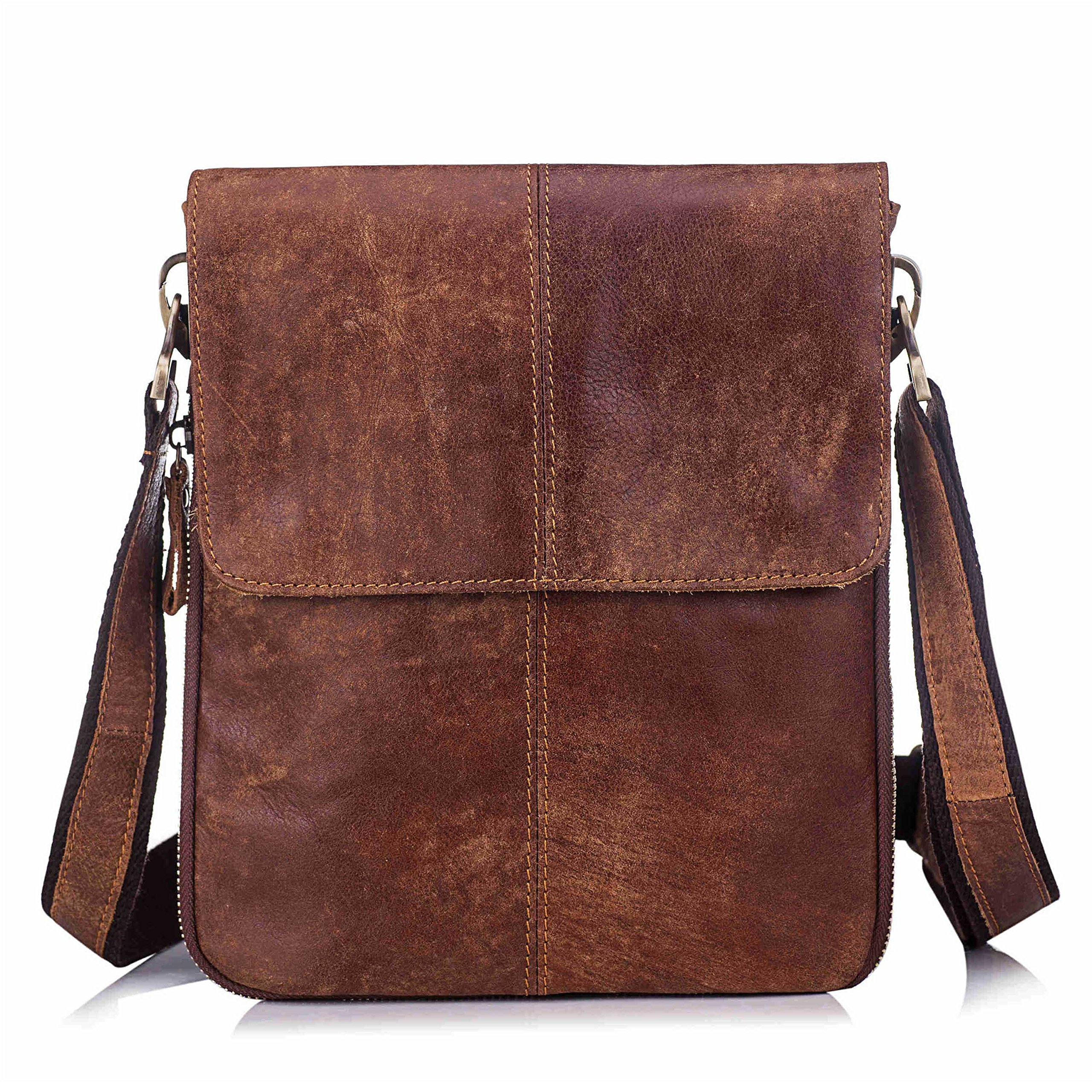 Men's Genuine Leather Crossbody Bag Retro Small Satchel Messenger Shoulder Purse with Flap (Brown)