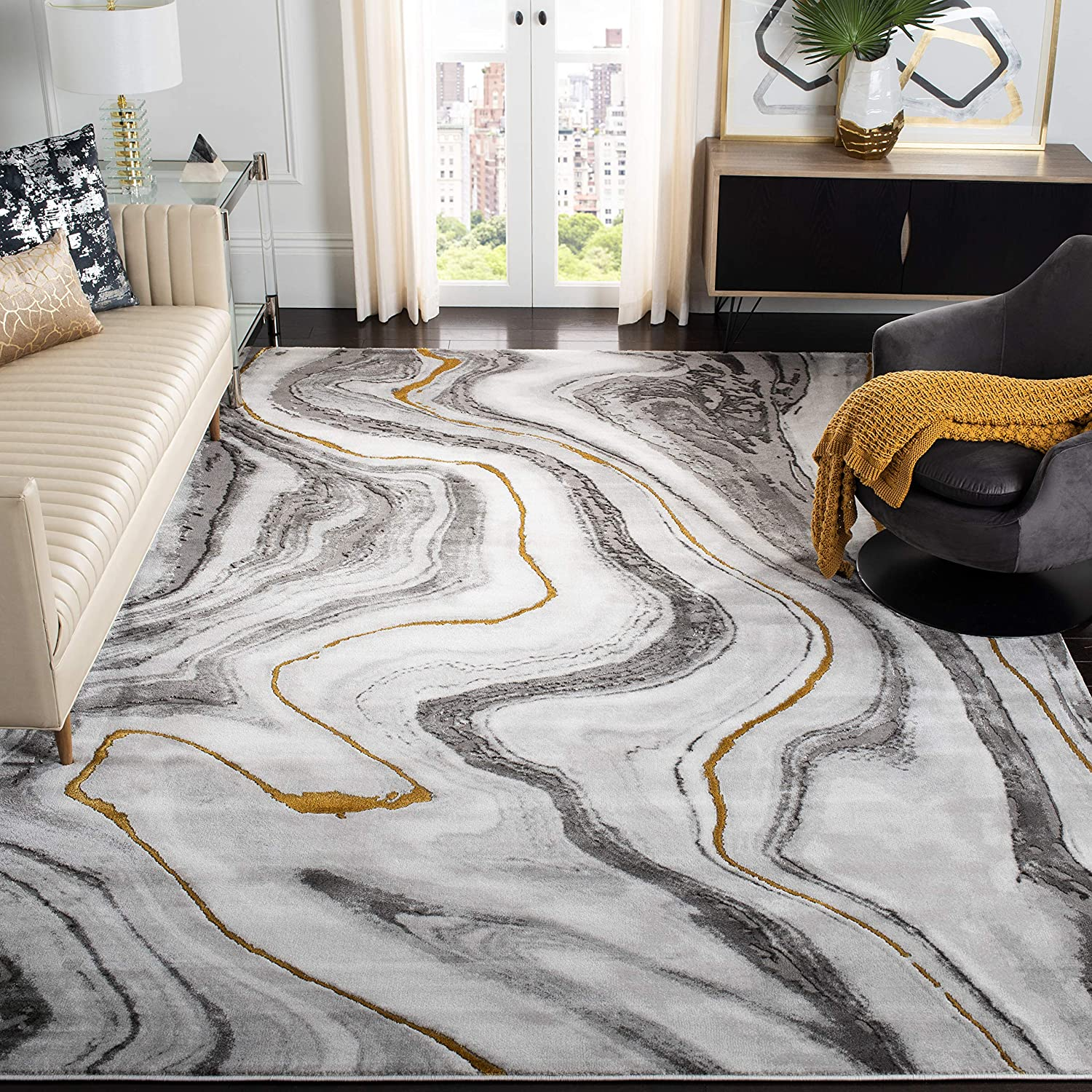 Safavieh Craft Collection CFT819F Modern Abstract Non-Shedding Stain Resistant Living Room Bedroom Area Rug, 8' x 10', Grey / Gold