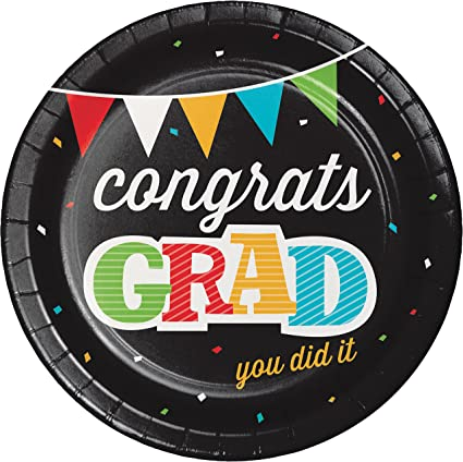 Set of 16 Paper Plates and 18 Napkins Featuring Graduation Theme 34 Total Pieces Graduation Paper Plates and Napkins Set Great Value