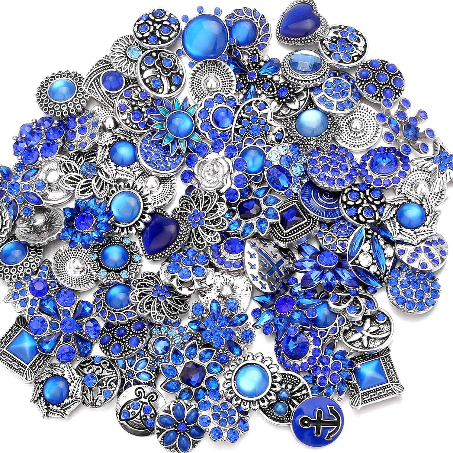 Ginooars 10PCs Mixed Style Rhinestones Snaps Buttons 18//20mm for Interchangeable Snaps Jewelry Blue