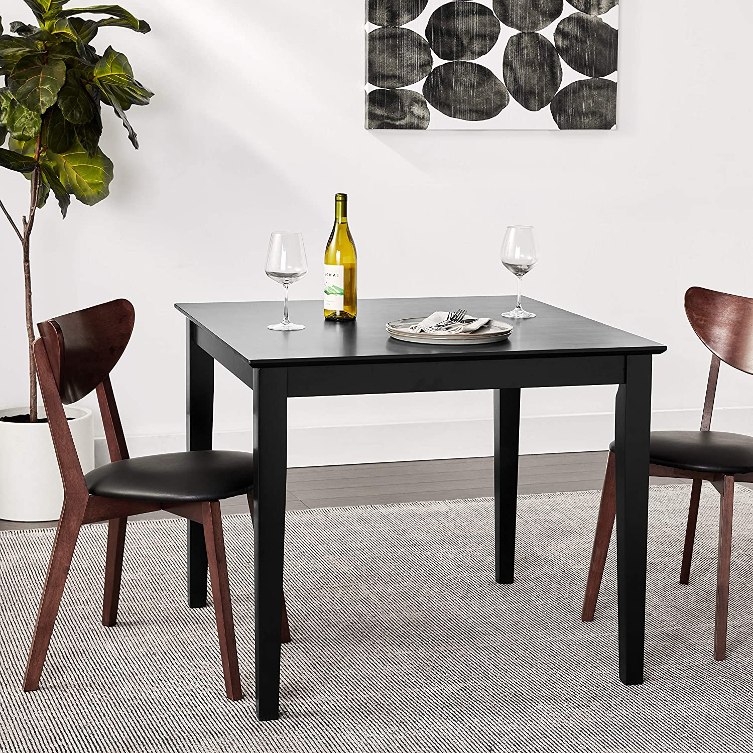International Concepts Solid Wood Dining Table with Shaker Legs 36 by 36 by 30-Inch Black