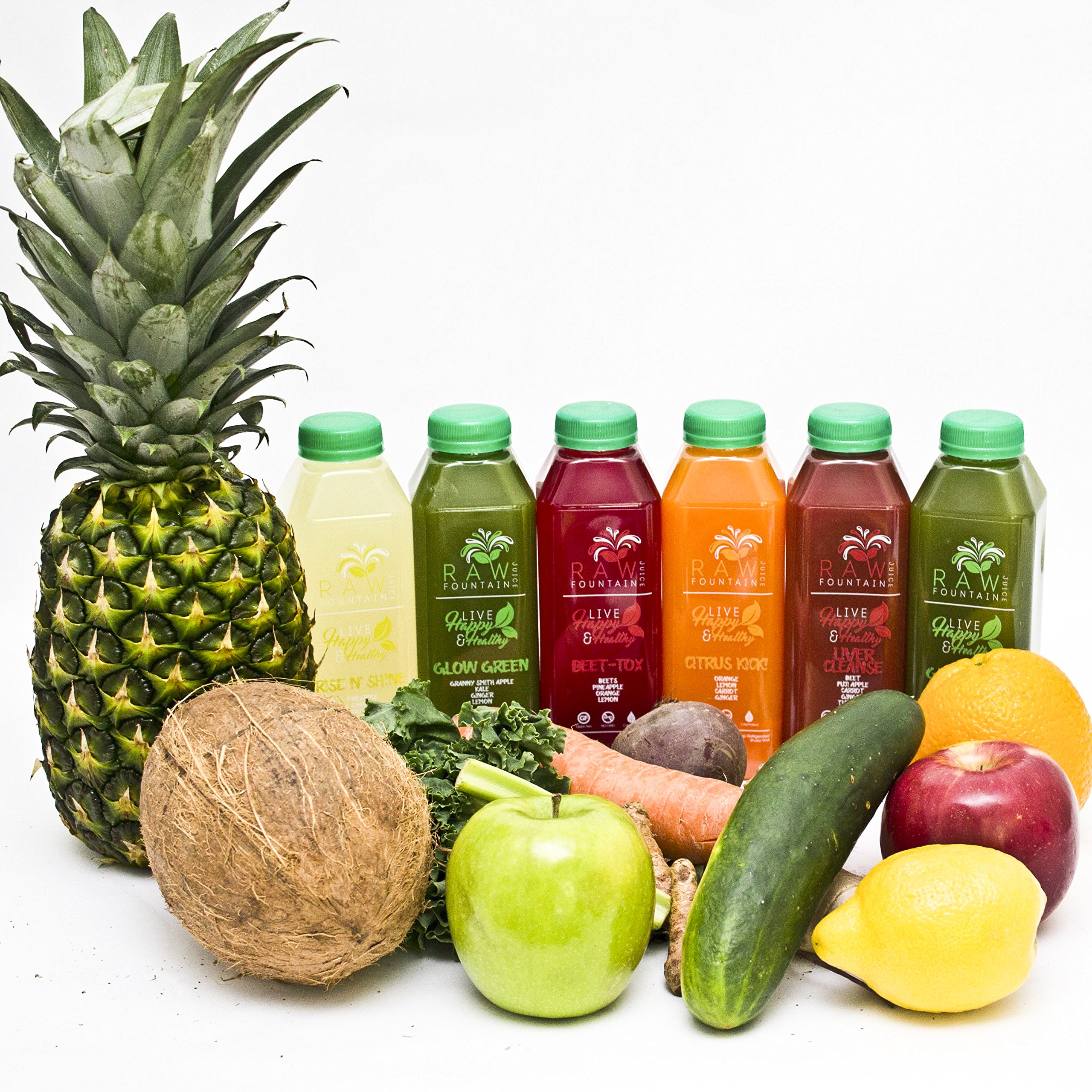 7 Day Juice Cleanse by Raw Fountain Juice - 100% Fresh Natural Organic Raw Vegetable & Fruit Juices - Detox Your Body in a Healthy & Tasty Way! - 42 Bottles (16 fl oz) + 7 BONUS Ginger Shots by Raw Threads (Image #8)
