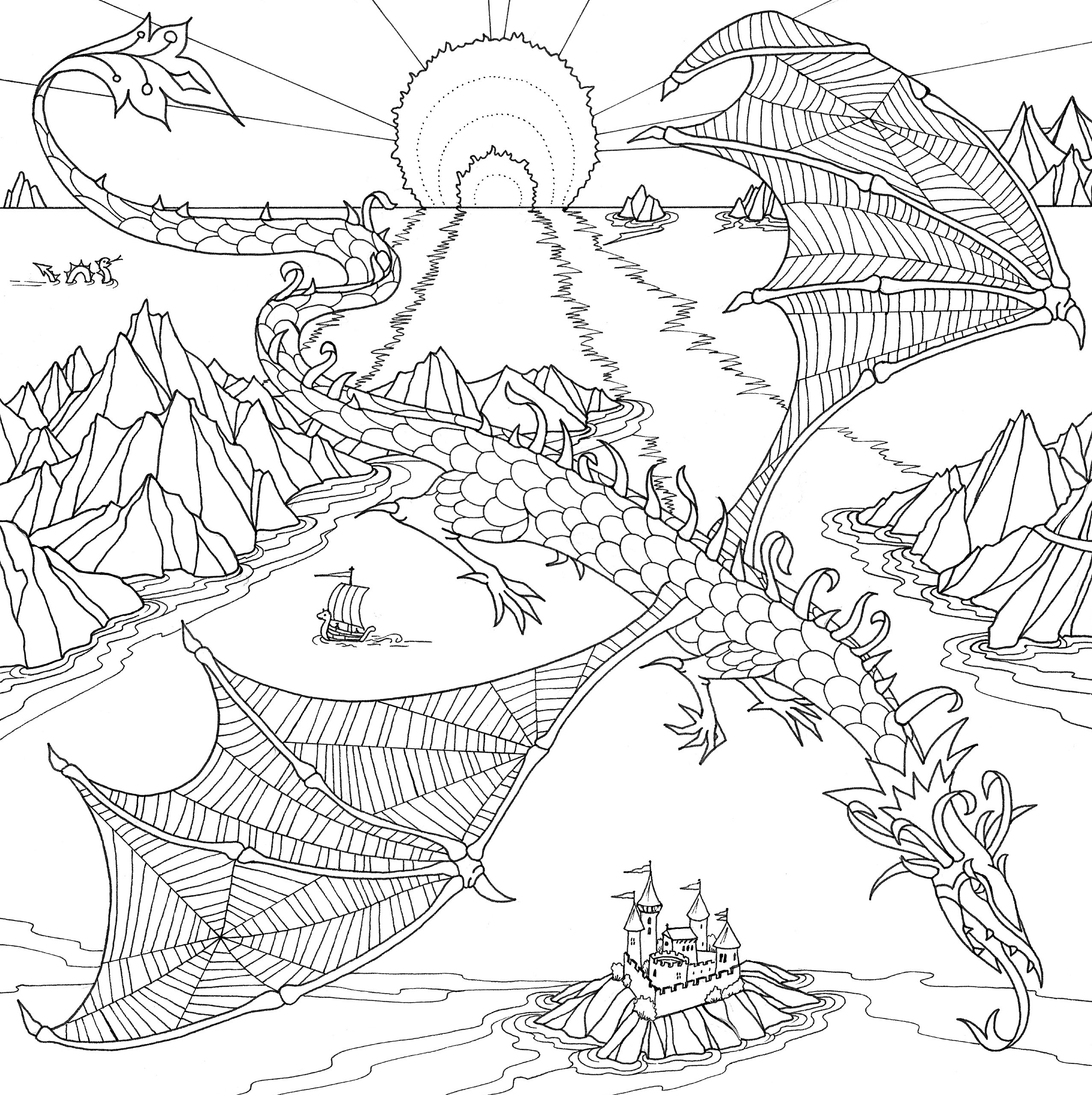 dragons coloring book 31 stress relieving designs studio