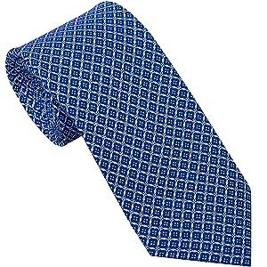 Sebastien Grey Men's 7-Fold Silk Tie (Navy & Pink Buttonhole)
