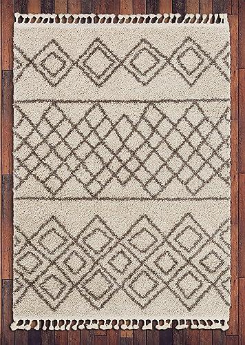 Well Woven Layla Shag Ivory Moroccan Trellis Area Rug 8×10 8×11 7 10 x9 10