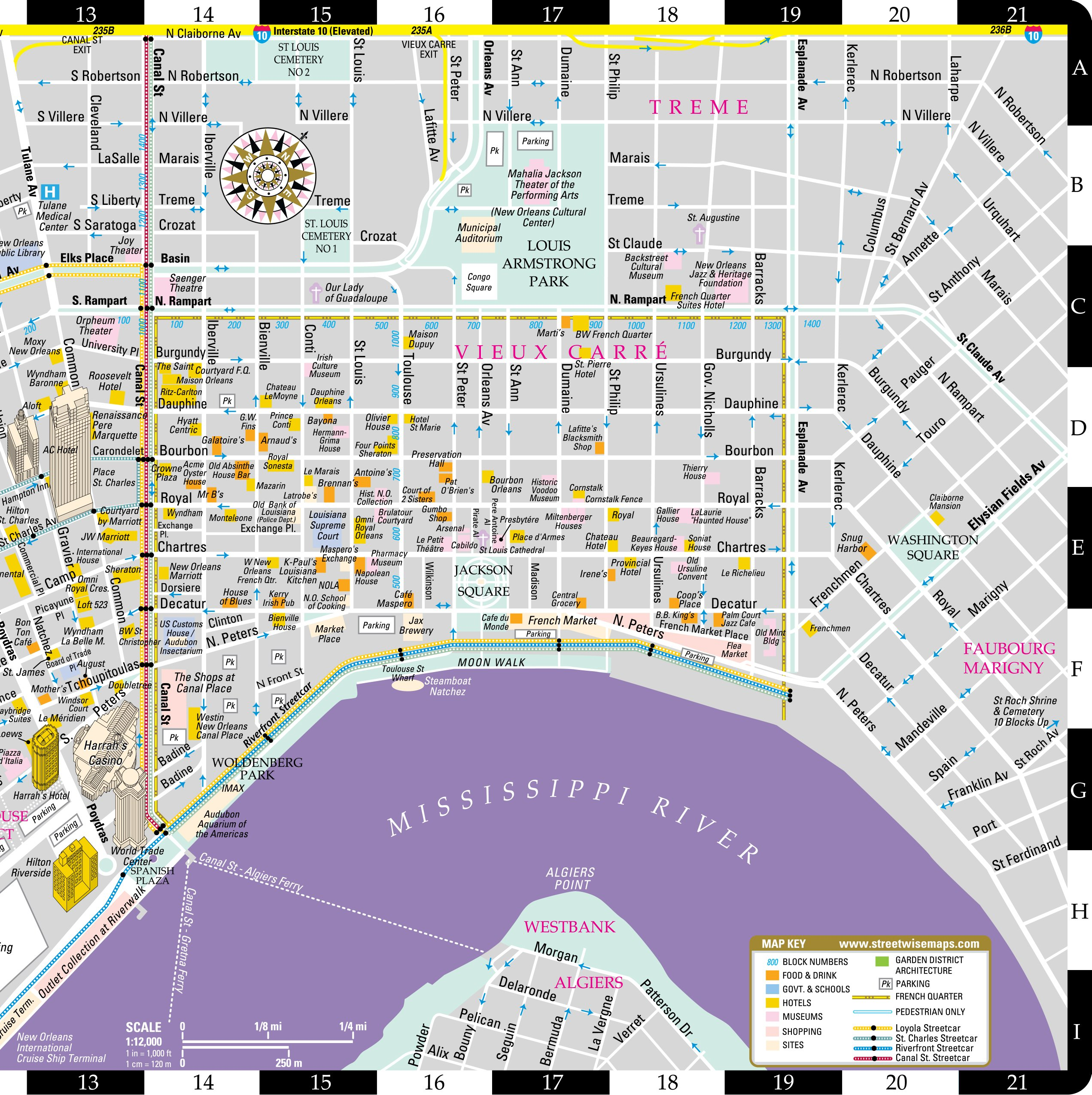 Streetwise New Orleans Map - Laminated City Center Street Map of New ...