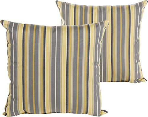 Humble and Haute Sunbrella Grey and Yellow Striped Indoor Outdoor Square Knife Edge Pillow Set 20 in h x 20 in d