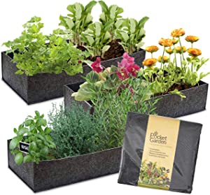 Pocket Garden Fabric Raised Bed Planter - Felt Container 23 x 10 Inches Nonwoven Materials, Perfect For Growing Plants, Flowers And Vegetables - For Small Space Balcony - Shelf Size (Pack of 3)