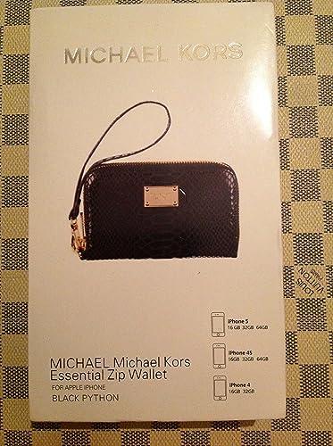 0f8df5e58cae42 Michael Kors Essential Zip Wallet For Apple IPhone Black Python ...