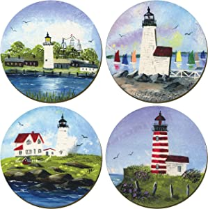 Lighthouses of New England Coasters - Set of 4