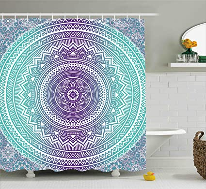 Ambesonne Blue And Purple Shower Curtain Mandala Ombre Eastern Mystic Abstract Old Fashion Bohemian Native
