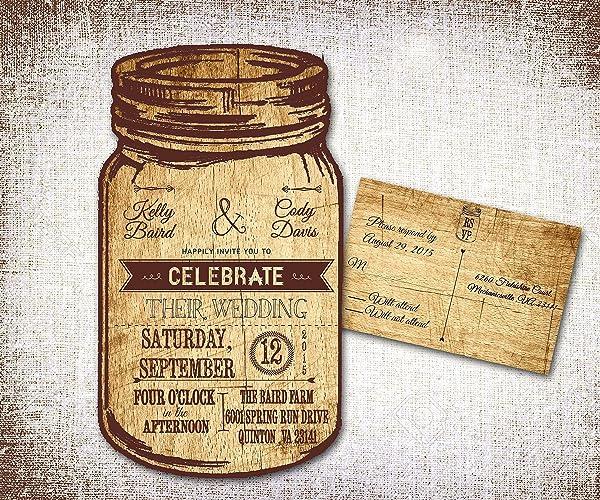 Amazon.com: Mason Jar Wedding Invitations/ Rustic Wedding ...