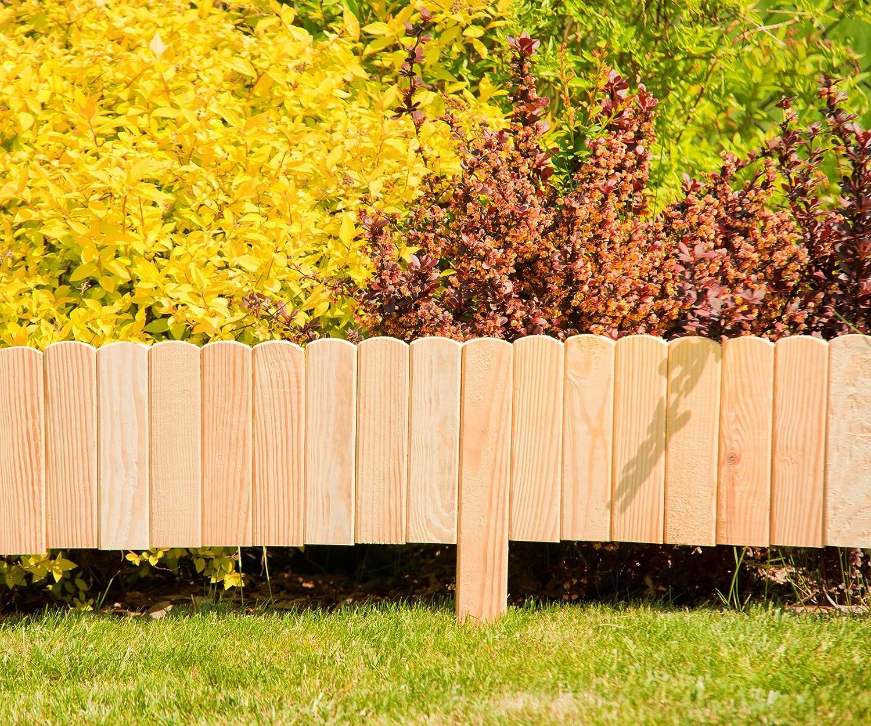 Rasenkante oder Palisade Farbe:braun Beetumrandung Floranica/® Flexibeler Beetzaun 203 cm aus Holz als Steckzaun Rollboarder Beeteinfassung wetterfest impr/ägniert H/öhe:20 cm
