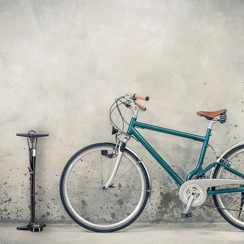 Relaxdays Bomba Bicicletas de Pie Profi Universal con Manómetro ...