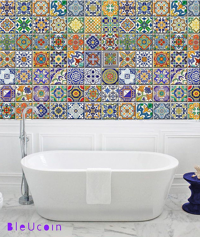 Amazon.com: Spanish Mediterranean Talavera Tile Stickers, Kitchen ...