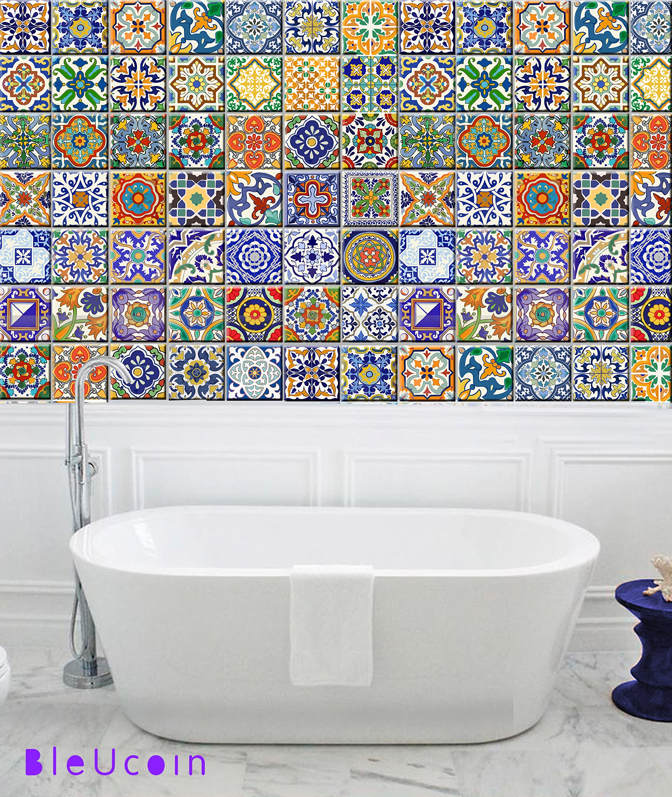 Spanish Mediterranean Talavera Tile Stickers for Kitchen Bathroom Backslash, Removable Stair Riser Decal Peel and Stick Home Decor- 44 Designs - Pack of 44 (8'' x 8'' Inches)