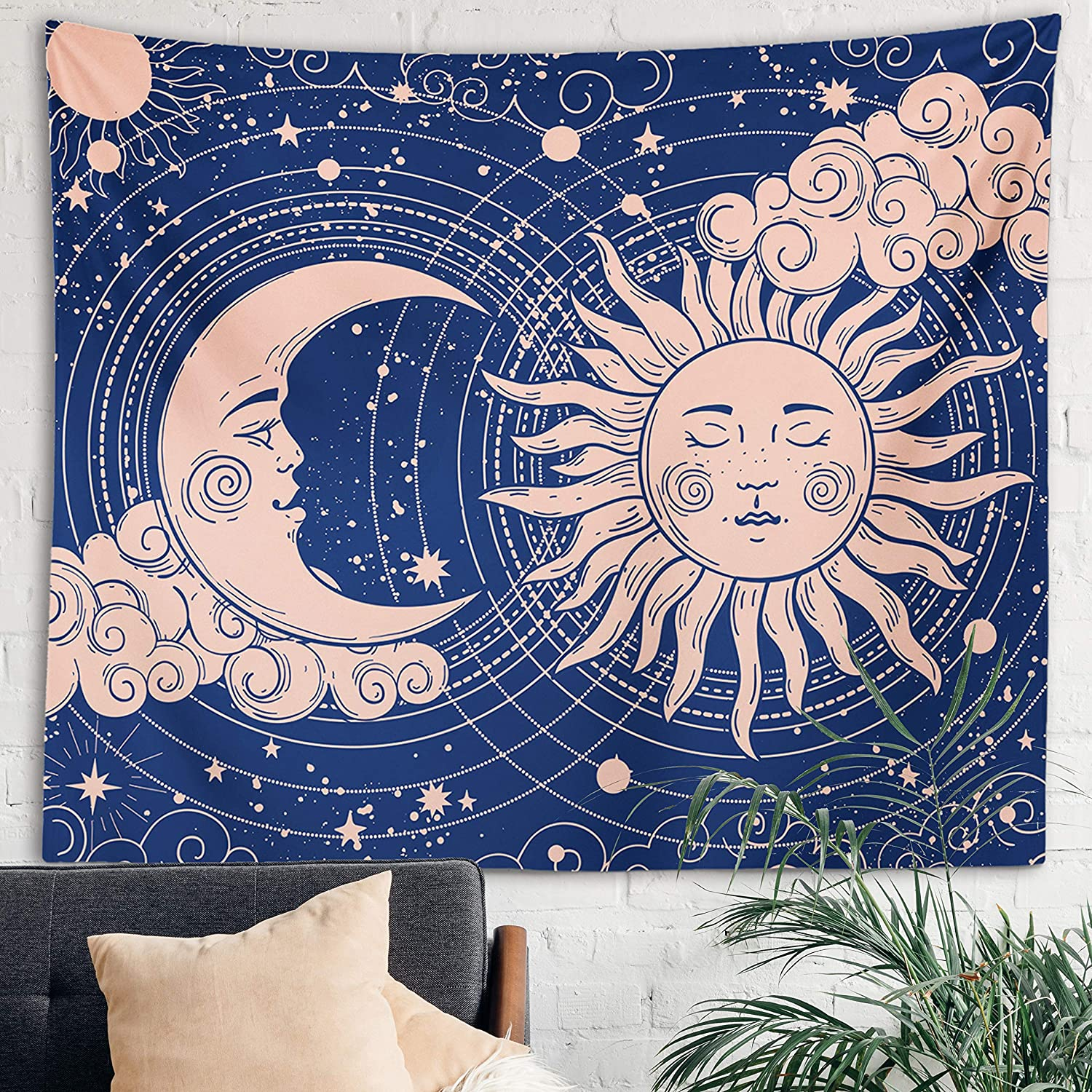Sun Moon Tapestry Starry Night Wall Hanging Moon Landscape Constellations Lunar Phases Bohemian Eclipse Black and White Wall Decor Astrology Galaxy Boho Celestial Tapestry (Blue Sun-Moon, 59