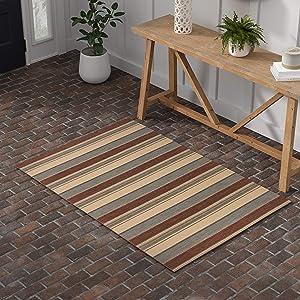 Amazon Brand – Stone & Beam Modern Striped Area Rug, 4 x 6 Foot, Beige