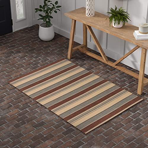 Stone Beam Modern Striped Area Rug, 4 x 6 Foot, Beige