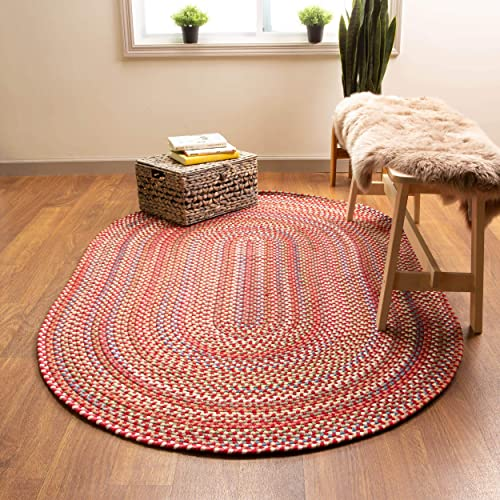 Super Area Rugs American Made Braided Rug for Indoor Outdoor Spaces Red Natural Multi Colored , 5 X 8 Oval