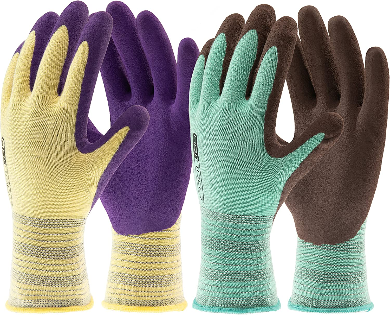 COOLJOB Gardening Gloves for Woman and Men, 2 Pairs Grippy Rubber Coated Working Gloves for Garden, Yard, Weeding, Landscaping, Palm Width 3.25 Inches, Yellow & Green, Extra Small (2 Pairs XS)