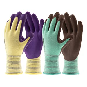 COOLJOB Gardening Gloves for Women and Men, Latex Coated Work Gloves for General Purpose, Assorted Colors, 2 Pairs, Small Size