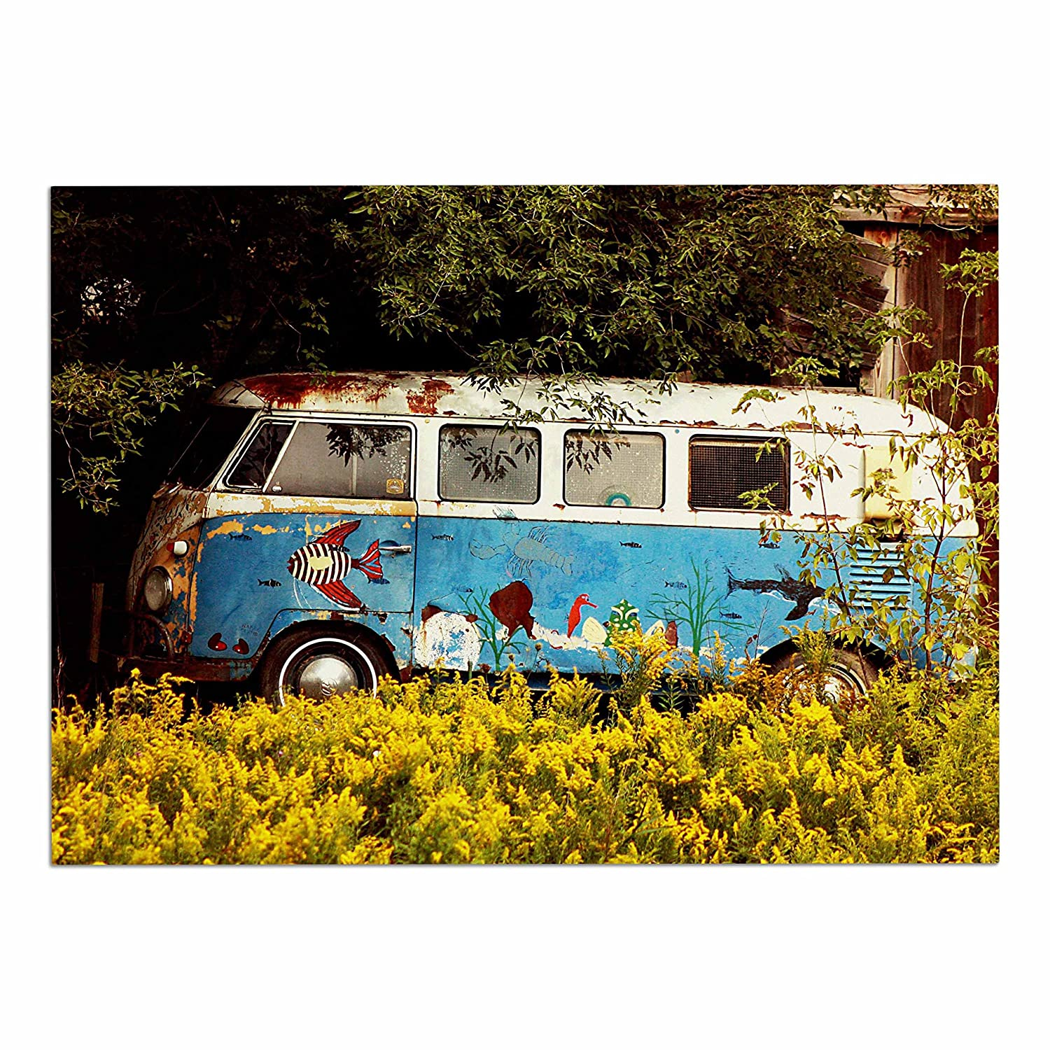 KESS InHouse AT1028ADM02 Angie Turner Hippie Bus bluee Yellow Dog Place Mat, 24 x15