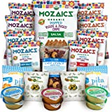 Premium Natural Snacks Care Package - Great Gift or Sampler, Healthy Variety Pack Single Servings - Mozaics Chips, Veggicopia Dips & Olives, Cabo Crunch Nut Mix, Crunchicopia Pita Chips (20 Count)
