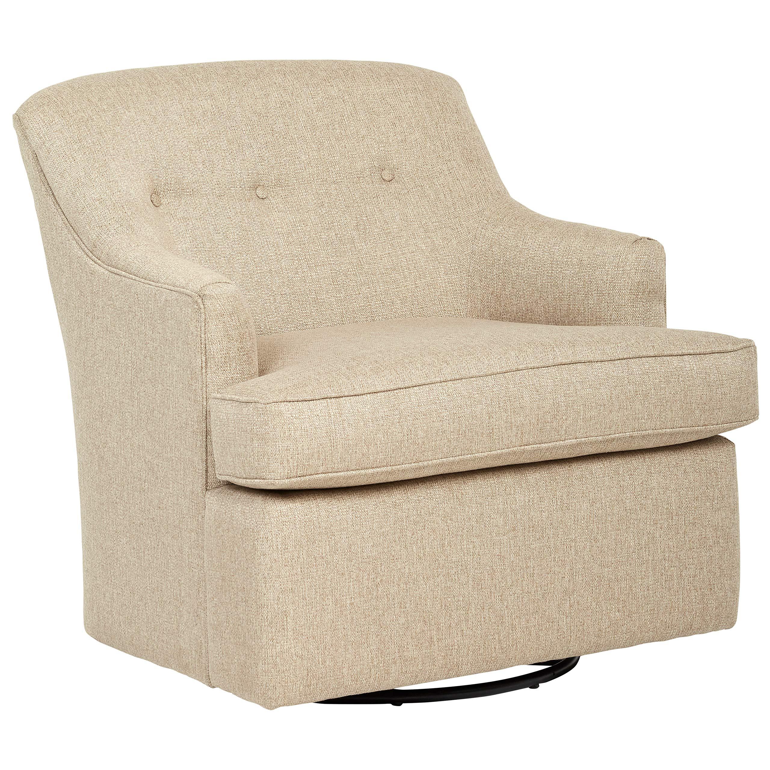 Stone & Beam Wolcott Swivel Chair, Fabric, 33''W, Latte