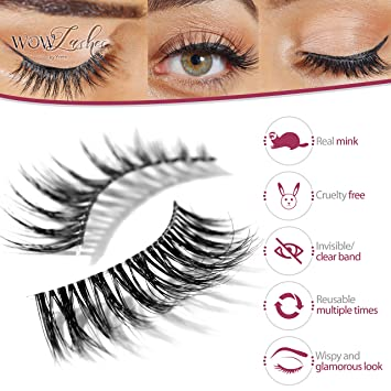 906c6e2b9ce Amazon.com : Long Wispy Lashes Thick Dramatic Real 3D False Mink Eyelashes  Cruelty Free Reusable For Glamorous Make Up in style Rhea : Beauty