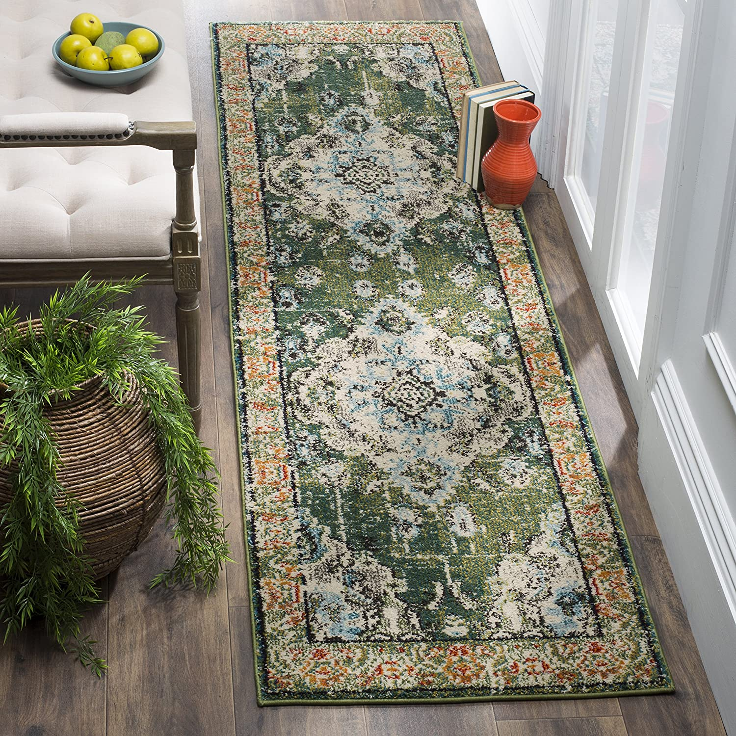 "Safavieh Monaco Collection MNC243F Vintage Oriental Forest Green and Light Blue Distressed Area Rug (2'2"" x 4')"