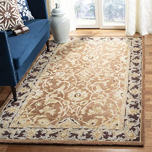 Safavieh Anatolia Collection AN545A Handmade Traditional Oriental Brown and Plum Wool Area Rug 9 x 12