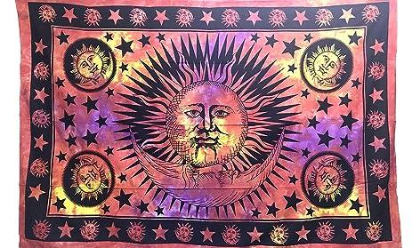 Tapestry Single SUN MOON Hippie Mandal Wall Hanging Art Decor Mandala  Tapestries Hippie Dorm 84X55 Inches