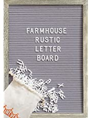 Farmhouse Wall Decor Felt Letter Board - 12 x 17 Inch Rustic Wood Frame, Gray/Grey Felt with 374 Precut White Letters, Wall Hook, Canvas Bag, Stand - Great Shabby Chic Vintage Decor Message