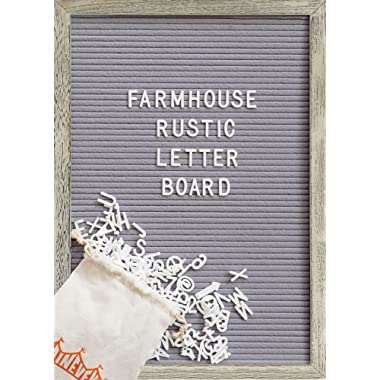 Felt Letter Board with 12x17 Inch Rustic Wood Frame, Script Words, Precut Letters, Picture Hangers, Farmhouse Wall Decor, Shabby Chic Vintage Decor, Grey Felt Message Board