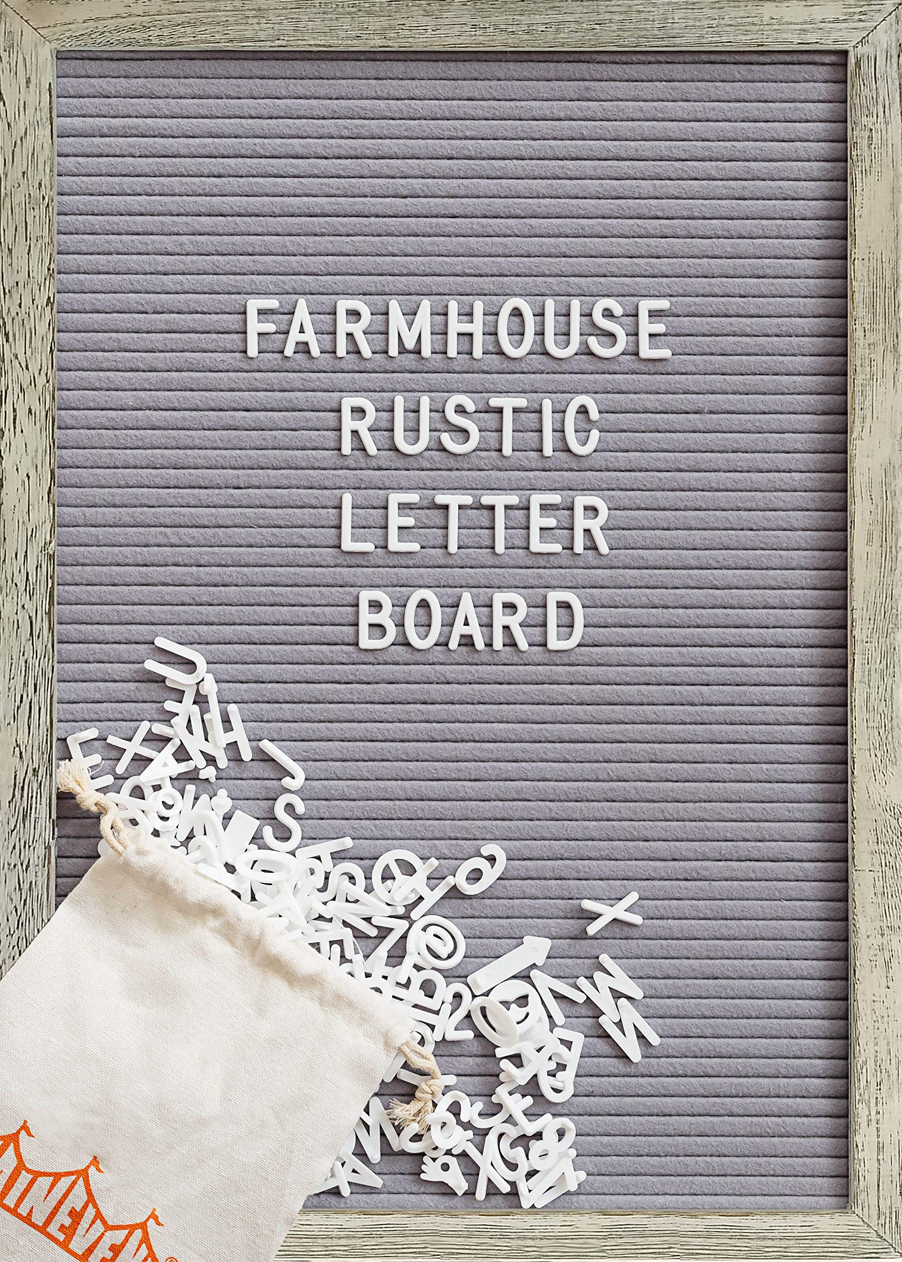 Felt Letter Board with 12x17 Inch Rustic Wood Frame, Script Words, Precut Letters, Picture Hangers | Farmhouse Wall Decor | Shabby Chic Vintage Decor | Grey Felt Message Board