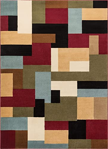 Imperial Mosaic Multicolor Geometric Modern Casual Area Rug 7×10 6 7 x 9 6 Easy to Clean Stain Fade Resistant Shed Free Abstract Contemporary Color Block Boxes Soft Living Dining Room Rug