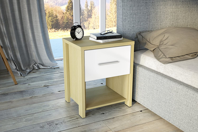 Birlea Cruz 1-Drawer High-Gloss Bedside Table Oak /& White