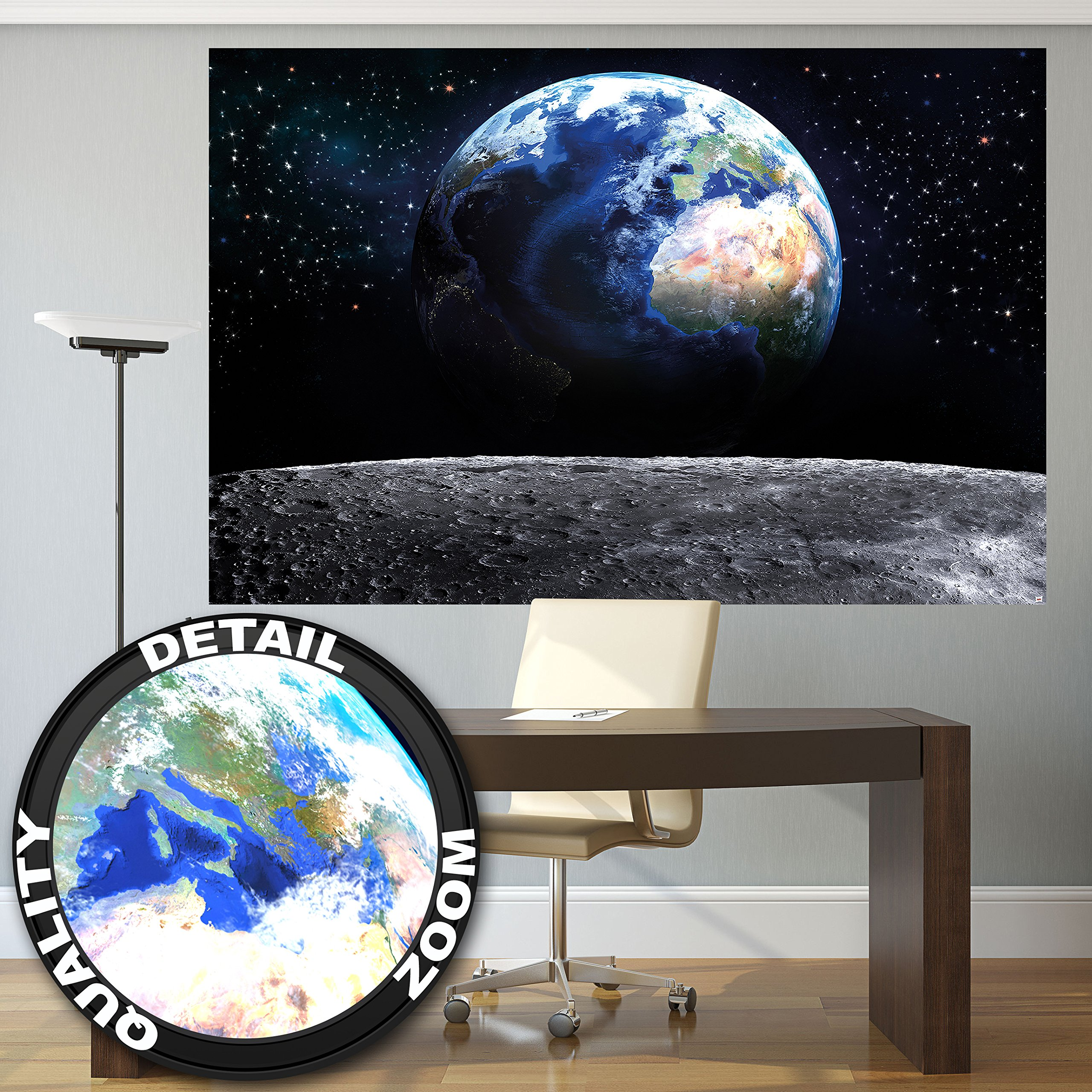 Wall Mural Planet Earth Mural Decoration World Earth Moon Galaxy Universe Deep Space Cosmos Space Globe Stars Moon Outer Space I paperhanging Wallpaper poster wall decor by GREAT ART 82.7 x 55 Inch