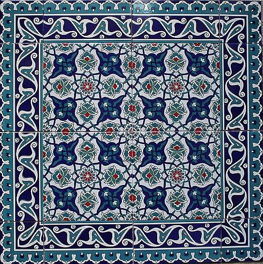"Raised Navy /& Red 4/""x4/"" Turkish Iznik Carnation Design Ceramic Tile Corner"