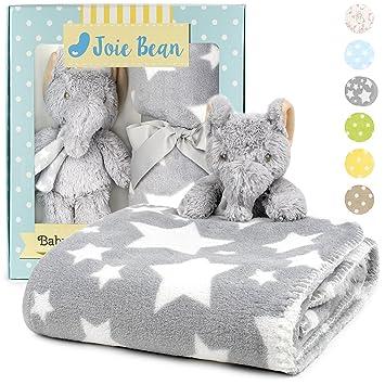 Premium Baby Blanket Set With Stuffed Animal Plush Toy Soft Fleece Security Throw Blanket For Baby