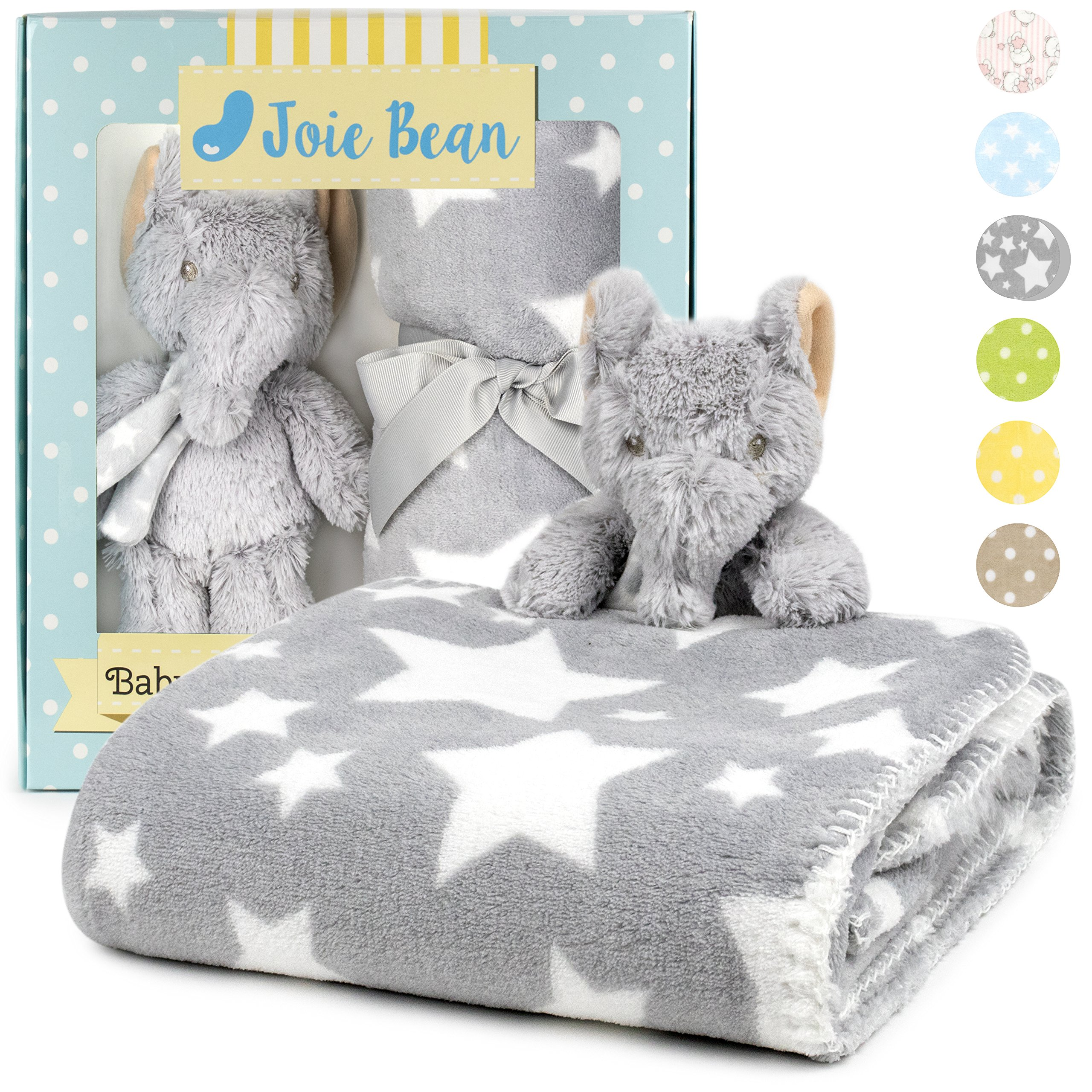 Premium Baby Blanket Set with Stuffed Animal Plush Toy | Soft Fleece Swaddle Blanket, Security Throw for Baby, Newborn, and Toddler | Nursery Bedding and Baby Shower Gift (Grey - Elephant)
